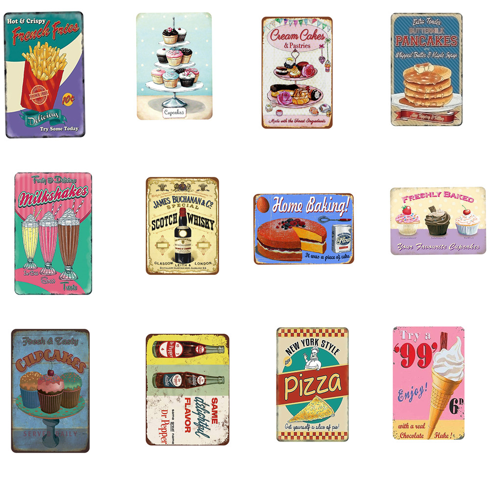 Wine/Ice-cream/Pizza/Dessert Shabby Chic Tinplate Signs Metal Painting Tin Brand Iron Art Wal Kitchen Bar Dessert Shop Decor
