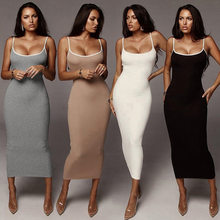 spaghetti strap open back elegant dress women ankle length vestidos pencil dresses high waist bodycon skinny cotton WD1735311(China)