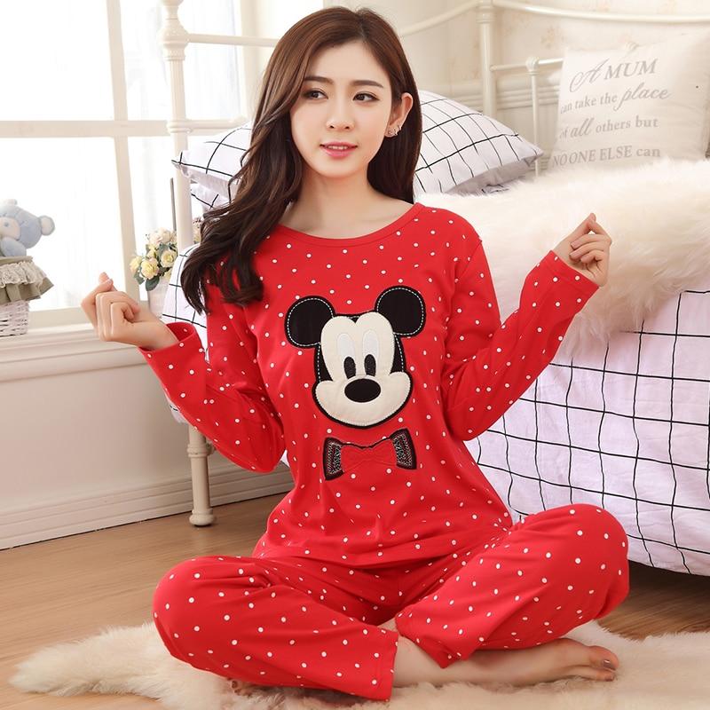 Spring Autumn Long Sleeve pyjamas women sleepwear Suit ladies cute pijama mujer Knitted Cotton Full Length   pajama     set   Home Wear