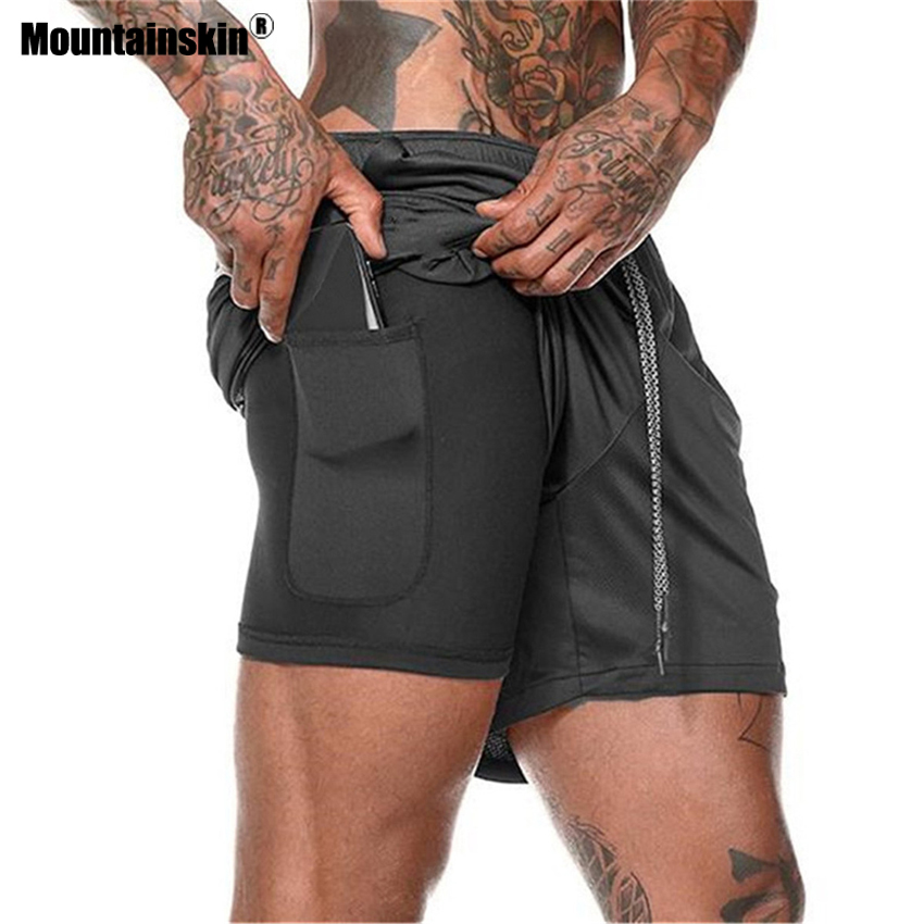 Mountainskin Summer Men's 2 In 1 Running Shorts Quick Dry Outdoor Sportswear Hiking Trekking Running Fitness Male Trousers VA745