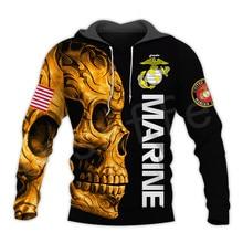 Tessffel America Marine Camo Skull Soldier Army Tracksuit NewFashion Pullover 3DPrint Unisex Zip/Hoodies/Sweatshirts/Jacket  A-3