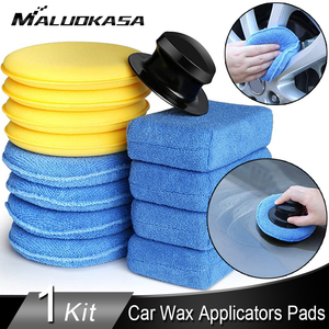 13PCS Soft Microfiber Car Wax Applicators Pads Kit Car Cleaning Applicators Car Foam Sponge Car Wax Polishing Auto Care Pad