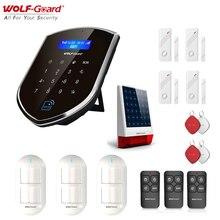 Wolf Guard GSM Wifi bezprzewodowy System alarmowy do domu zestaw DIY pilot aplikacji kontrola wykrywacz ruchu czujnik zasilany energią słoneczną syrena