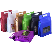 50Pcs Colorful Mylar Foil Side Gusset Stand Up Zip Lock Packaging Bag with Clear Window Self Seal Storage Bag Dried Fruits Nuts