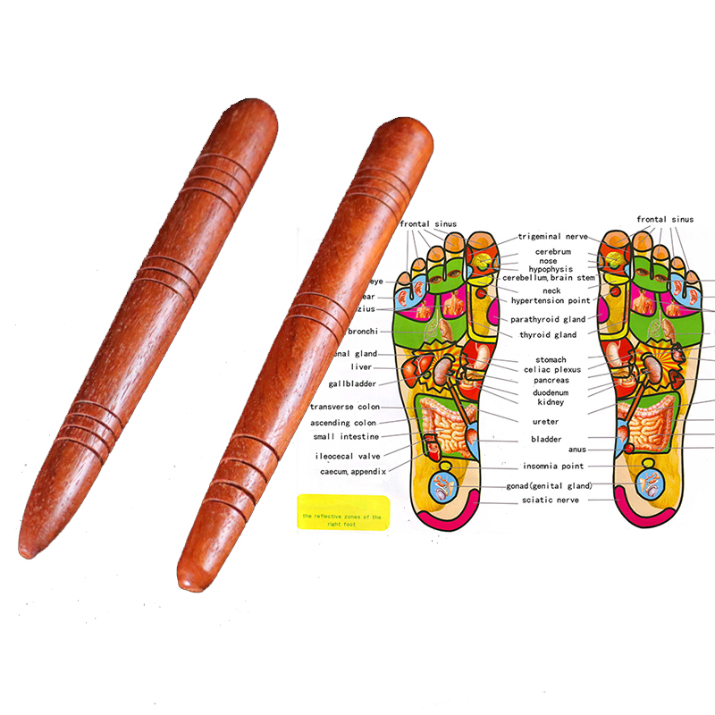 Wooden Foot Spa Physiotherapy Reflexology Thai Foot Massage Health Chart Free Massage Stick Tool Free Ship Hot-in Massage & Relaxation from Beauty & Health