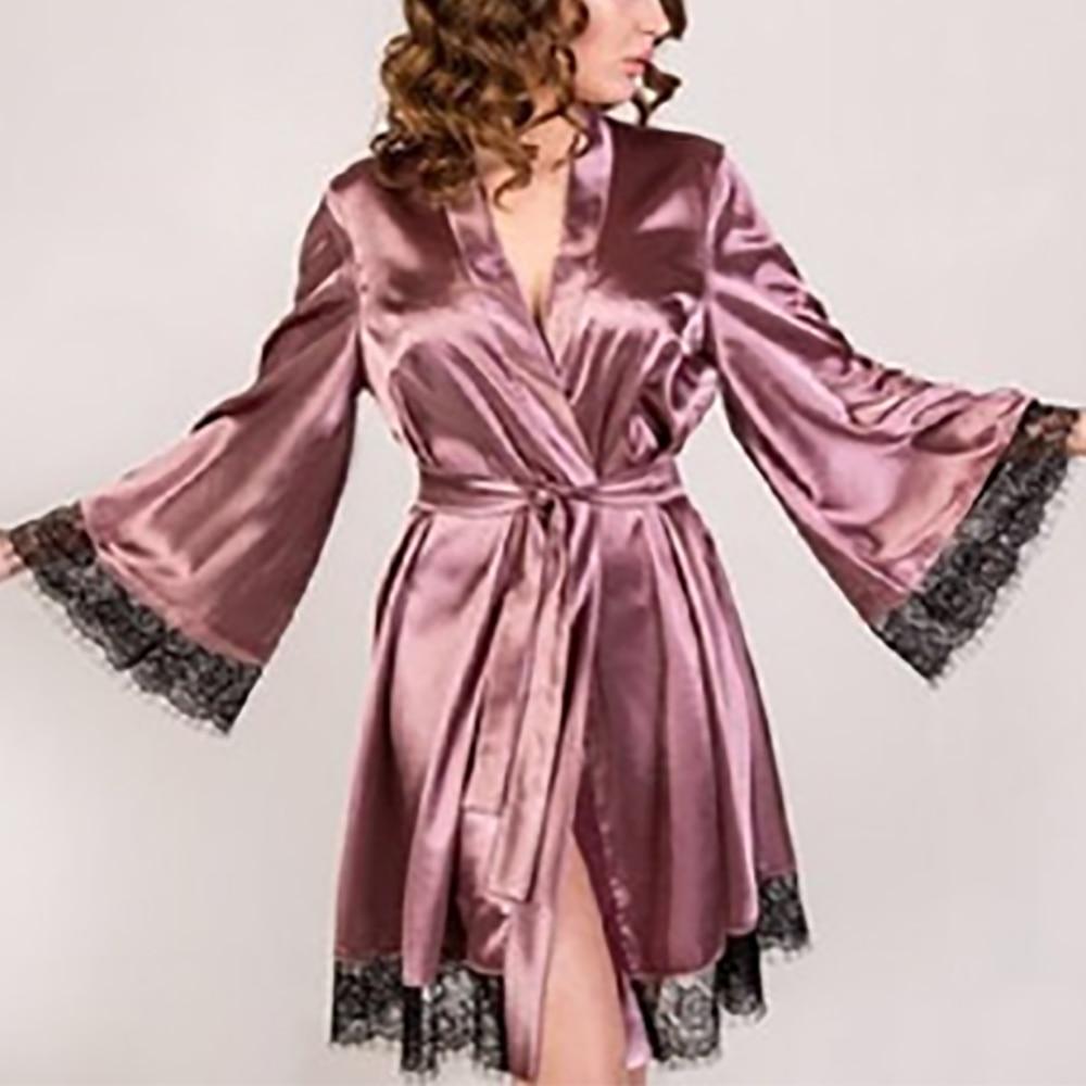 New Sexy Ladies Lingerie Pyjamas Women Bride Sleepwear Babydoll Underwear Kimono Satin Silk Lace Nightdress Nightgown Hot New