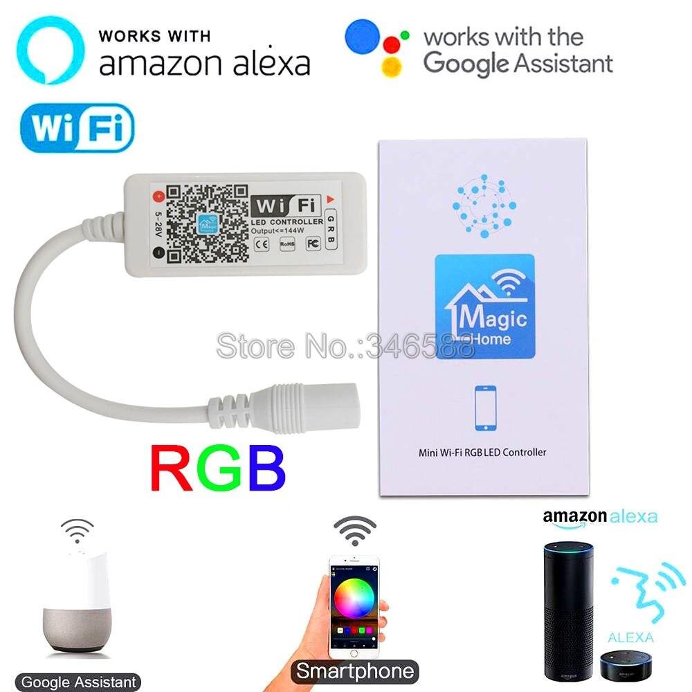 Mini WiFi Controller Magic Home WiFi RGB LED Controller DC5-28V APP Control Alexa Google Home Voice Control For RGB LED Strip