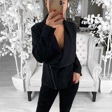 Autumn Women Slim Cool Jackets Asymmetric Zippers Female Loose Coat Long Sleeve Sweatshirt Irregular Fashion Outwear