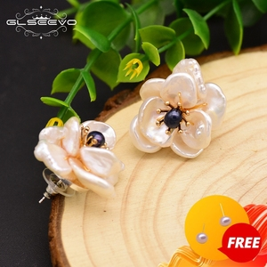GLSEEVO Natural Fresh Water Baroque Pearl Stud Earrings For Women 925 Sterling Silver Flower Jade Earrings Charm Jewelry GE0664