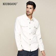KUEGOU 2019 sonbahar % 100% pamuk kalın beyaz gömlek erkekler elbise düğmesi Casual Slim Fit uzun kollu erkek moda marka bluz 0224