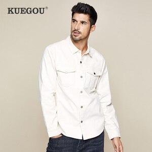 Image 1 - Kuegou 2019 Herfst 100% Katoen Dikke Witte Shirt Mannen Jurk Button Casual Slim Fit Lange Mouwen Voor Man Fashion Brand blouse 0224