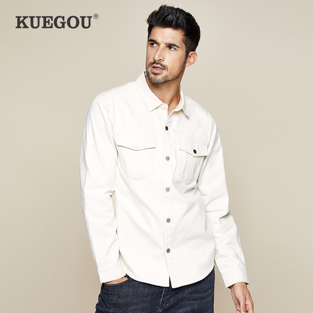 Kuegou 2019 Herfst 100% Katoen Dikke Witte Shirt Mannen Jurk Button Casual Slim Fit Lange Mouwen Voor Man Fashion Brand blouse 0224