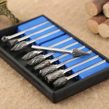 10Pcs/set Tungsten Steel Carbide Burrs Die Grinder Power Drill Bits Rotary Tool For mold grinding machine metal wood carving new 20pc 3mm shank tungsten steel solid carbide burrs grinder rotary files tool high quality