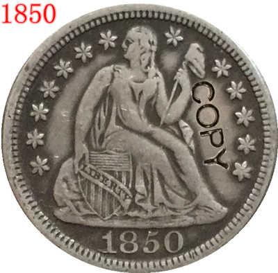 USA 1850 P ، O يجلس ليبرتي الدايم نسخة عملات