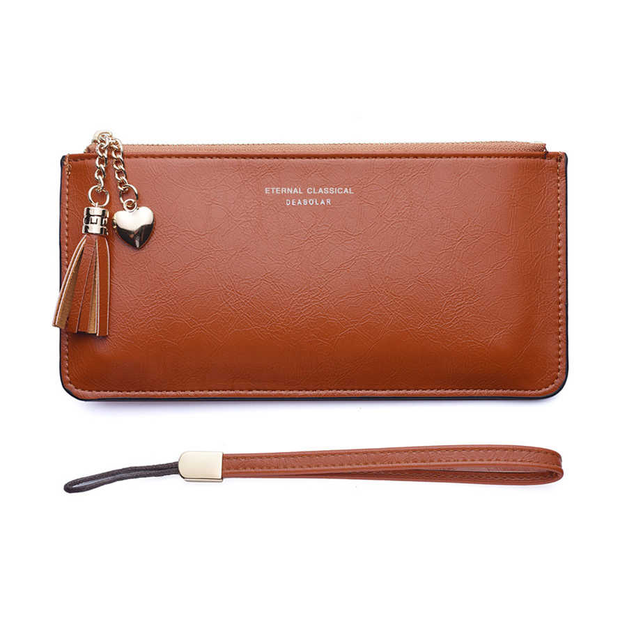 Portefeuille en cuir souple pour femmes, Long et Slim, pochette, porte-monnaie avec support pour téléphone, portomonee