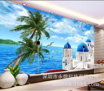 Aegean Sea TV Backdrop Wallpaper Living Room Sofa Mediterranean 3D Seamless Natural Scenery Mural