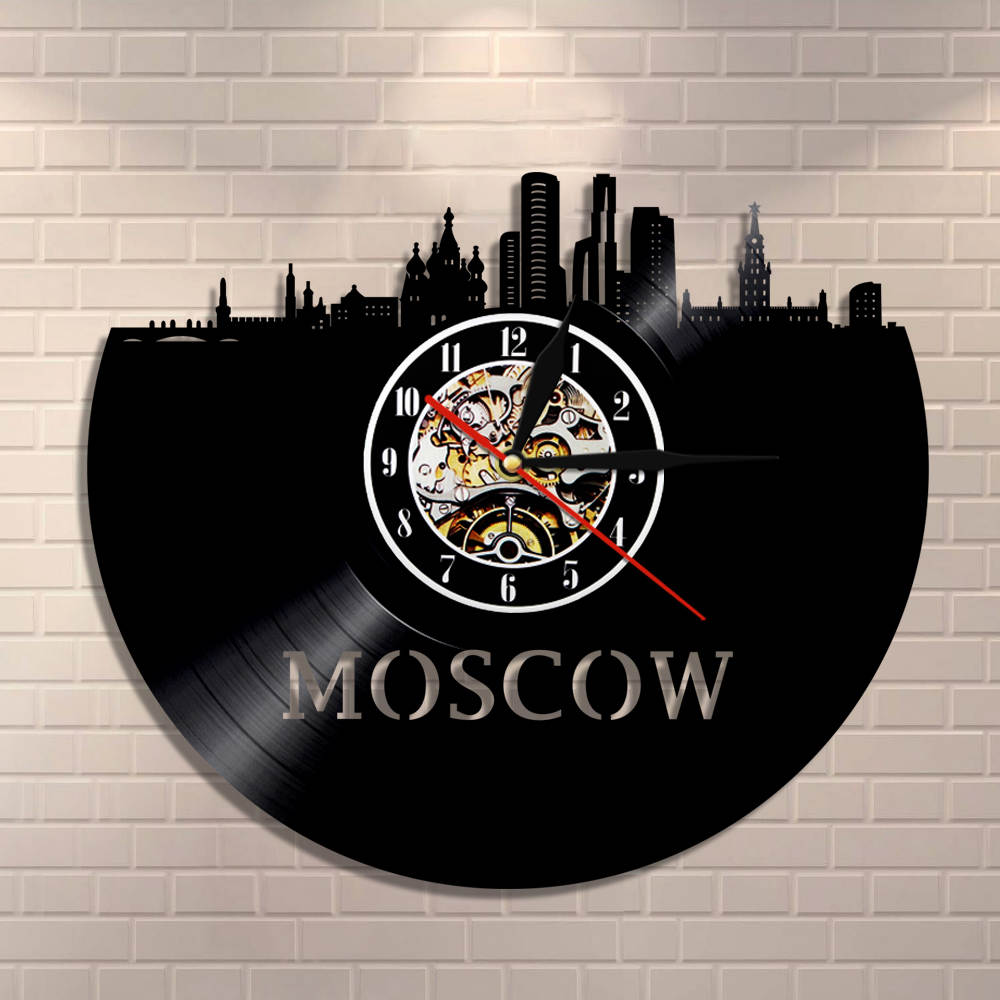 Russian Architecture Wall Art Moscow Wall Decor Vintage Vinyl Record Wall Clock Moscow Skyline Cityscape Russian Tourist Gift
