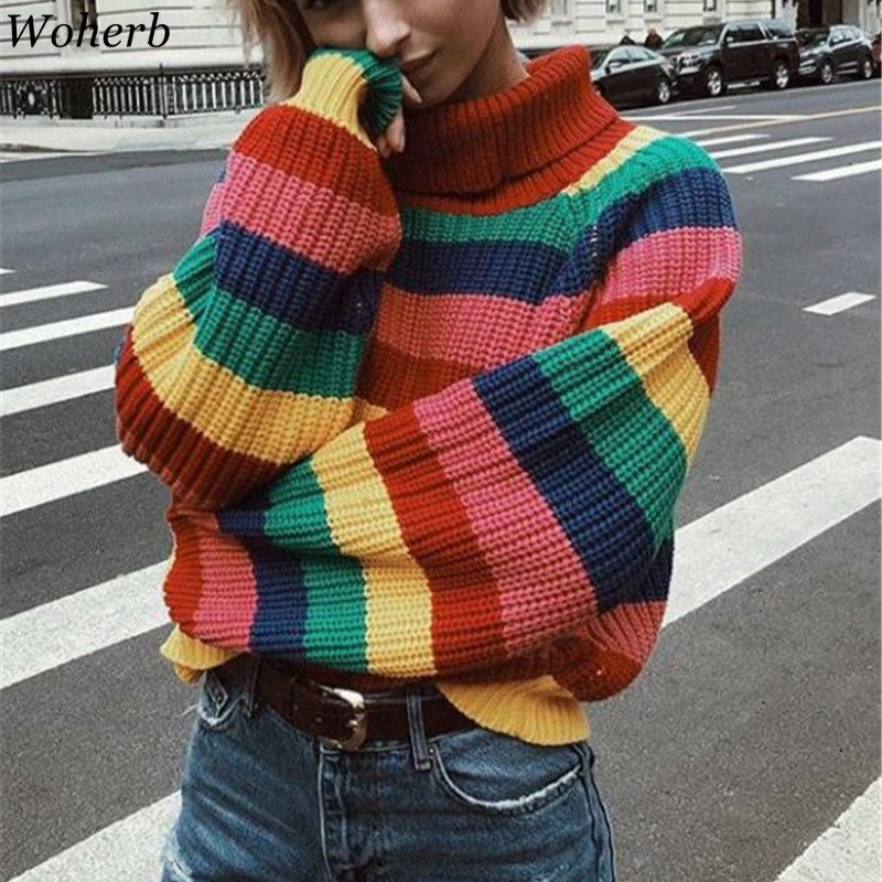 Woherb 2020 Loose Winter Thick Turtleneck Pullover Women Harajuku Rainbow Sweater Casual Striped Knitwear Jumper Sueter Mujer