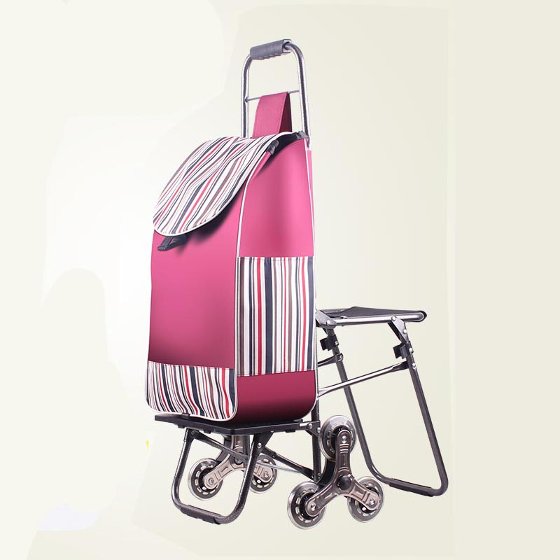 Shopping Cart Climbing Stairs Folding Luggage Cart Trolley Car with Chair Portable Shopping Cart Trolley Cart   - title=