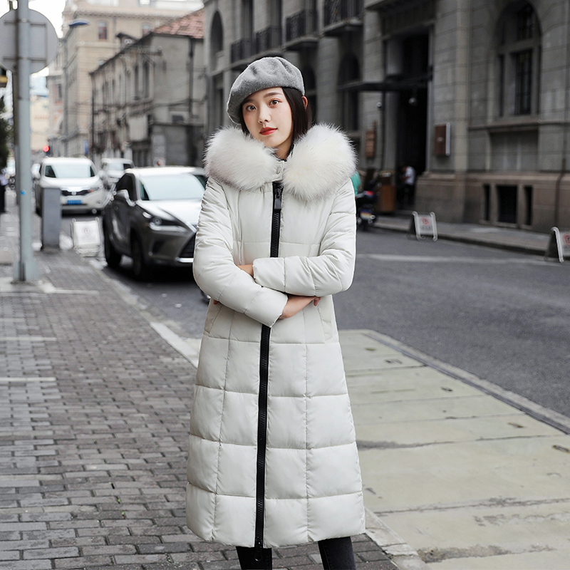 Women Parkas fur collar Winter Hooded Warm Coat Slim Cotton Padded Basic Jacket Female Casual long Outwear feminina 2020