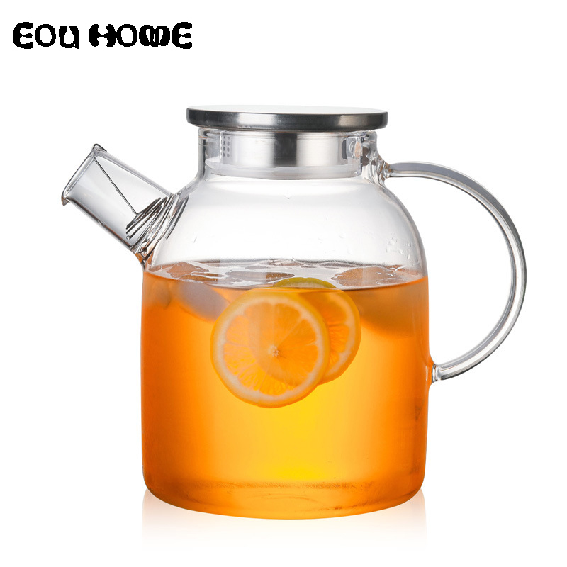 1000 ml/1800 ml (gorilla Glass) 주전자 물 주전자를 제공 할 열 저항하는 꽃 찻 와 Bamboo Lid Stainless Steel Cover Clear 주스 Container
