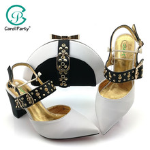 2019 African Special Design Ladies Shoes and Bag Set White Color Italian design Shoes with  Bags Comfortable Heels Women Shoes