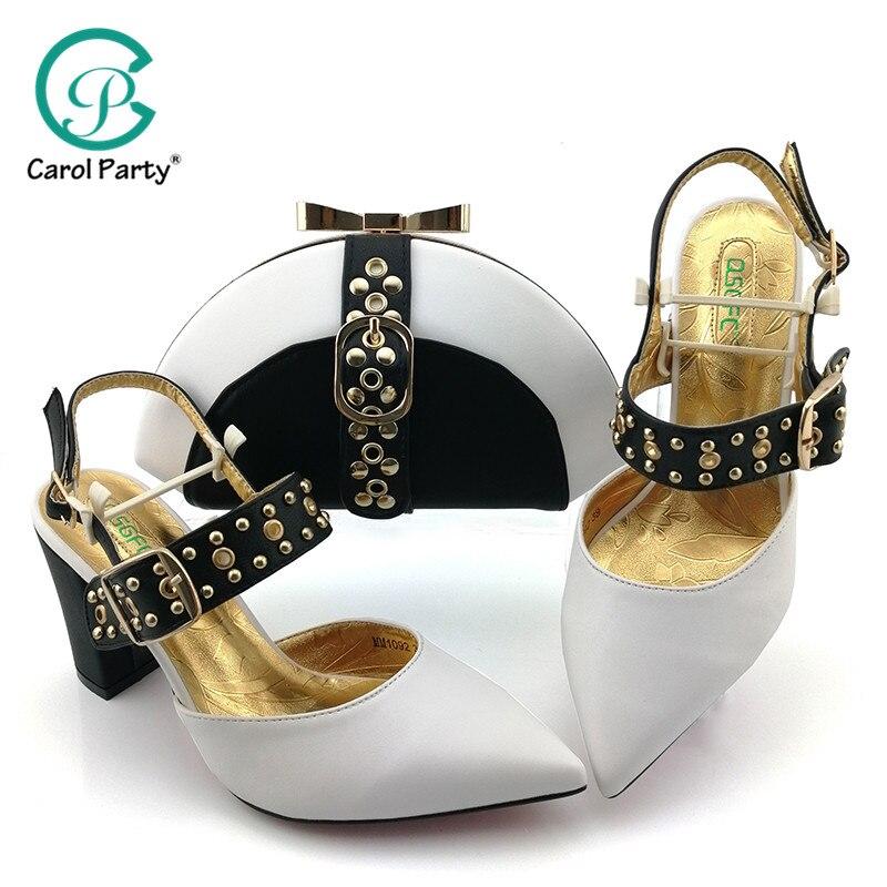 2019 African Spezielle Design Damen Schuhe und Tasche Set Weiß Farbe Italienisches design Schuhe mit Taschen Komfortable Heels Frauen Schuhe