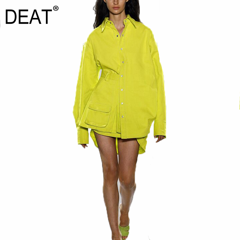 DEAT 2020 New Spring Fashion And Autumn Stand Collar Lantern Sleeves Yellow Shirt And Pocket Spliced Skirts Shorts Set WL74507L