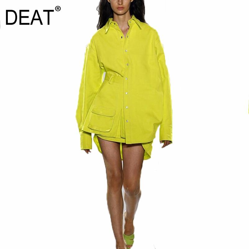 DEAT 2020 новый весенний модный и осенний комплект из желтой рубашки с рукавами фонариками и юбки с карманами и шорт WL74507L|Спортивные костюмы|   | АлиЭкспресс