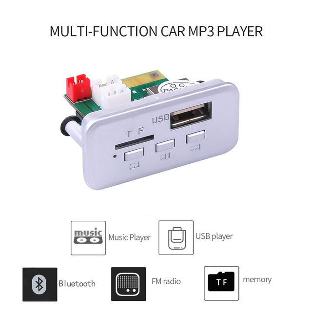KEBIDU 5V 12V Car MP3 Player Decoder Board Audio Module Wireless FM Receiver Radio WMA FM TF USB 3.5mm AUX For Car accessories