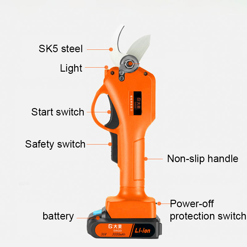 Tools : 21V Wireless Electric Rechargeable Scissors Pruning Shears Tree Garden Tool Branches Pruning Tools With 1 Or 2 Li-ion Battery