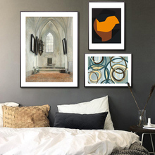 Nordic Wall Art Canvas Painting Retro Church Picture Abstract Poster Print Living Room Bedroom Decoration Office Home Decor abstract canvas painting poster print wall art nordic green gold lines picture for living room bedroom decoration home decor