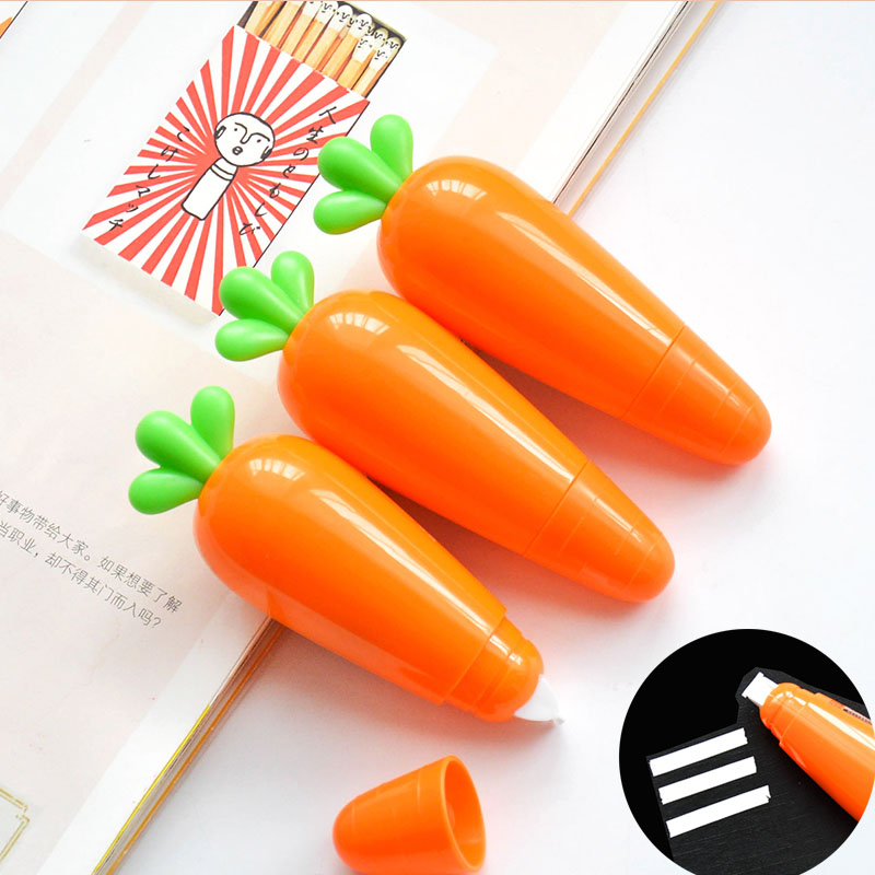 6m Kawaii Carrot Correction Tape Student Writing Correction Tool For Kids Novlty Gift School Office Supplies Korean Stationery