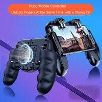 H9 seis dedo Pubg controlador Joystick Gamepad Pubg móvil gatillo L1R1 Joystick disparador juego Pad teléfono titular con enfriador Fans