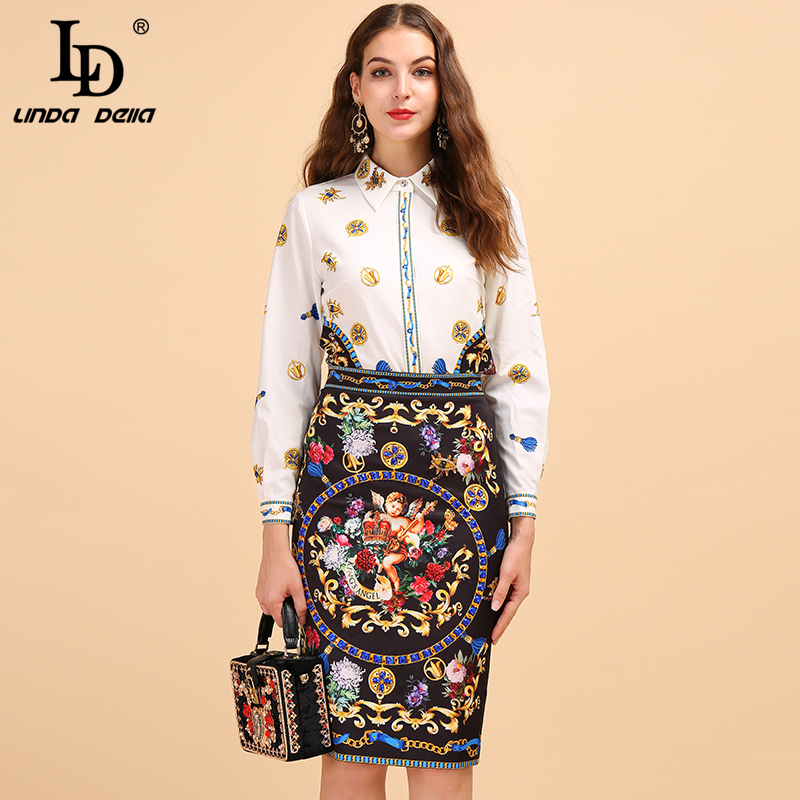 LD LINDA DELLA Fashion Runway Autumn Vintage Suit Women's Long Sleeve White Shirt And Angel Printed Midi Skirt Two Pieces Set