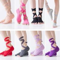 Женские нескользящие хлопковые массажные спортивные носки для йоги с поперечным поясом, эластичные носки для фитнеса, балета, танцев с