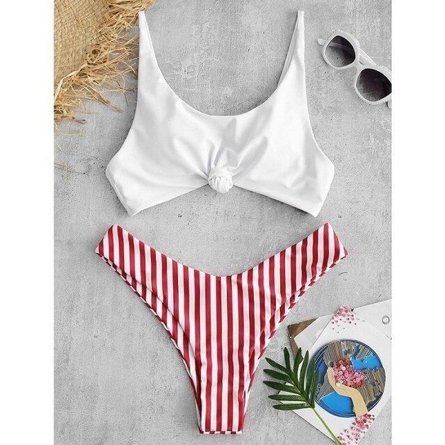 Sexy Bikini Women Swimsuit Scoop Neck Striped Swimwear Knot Bow fringe Summer Beachwear Bathing Suit Push Up Biquini