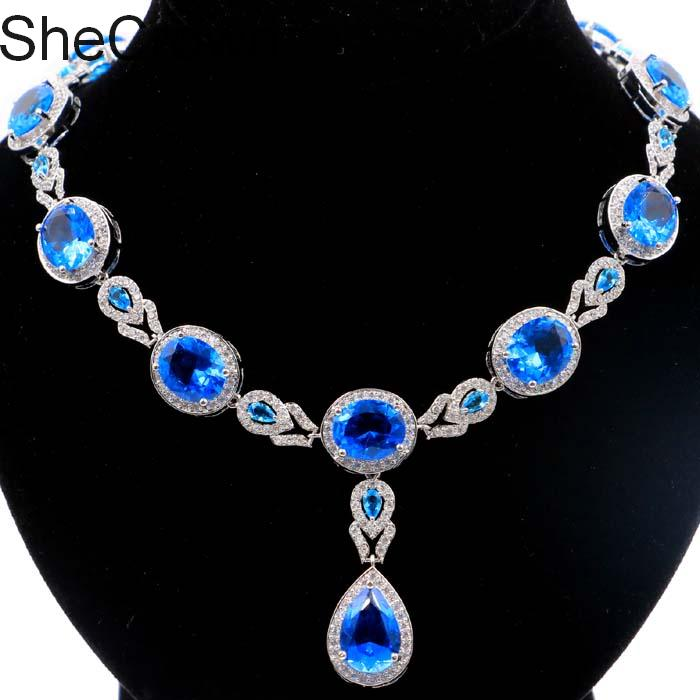 "Pretty Paris Blue Topaz White CZ SheCrown Silver Necklace 19.0-19.5in ""48x16mm"