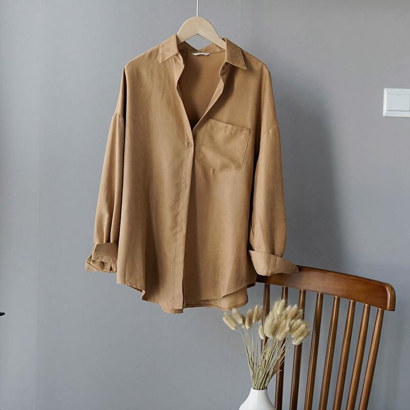 Turn Down Collar Long Sleeve Pocket Shirt 4