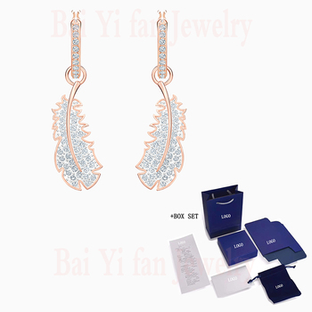 Fashion SWA New NICE Pierced Earrings Rose Gold Delicate Feather Pendant Pattern Decoration Crystal Female Jewelry Romantic Gift