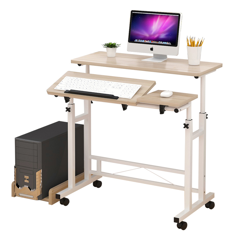 Laptop table can be lifted and lowered bedside table mobile desktop table multi-function learning table