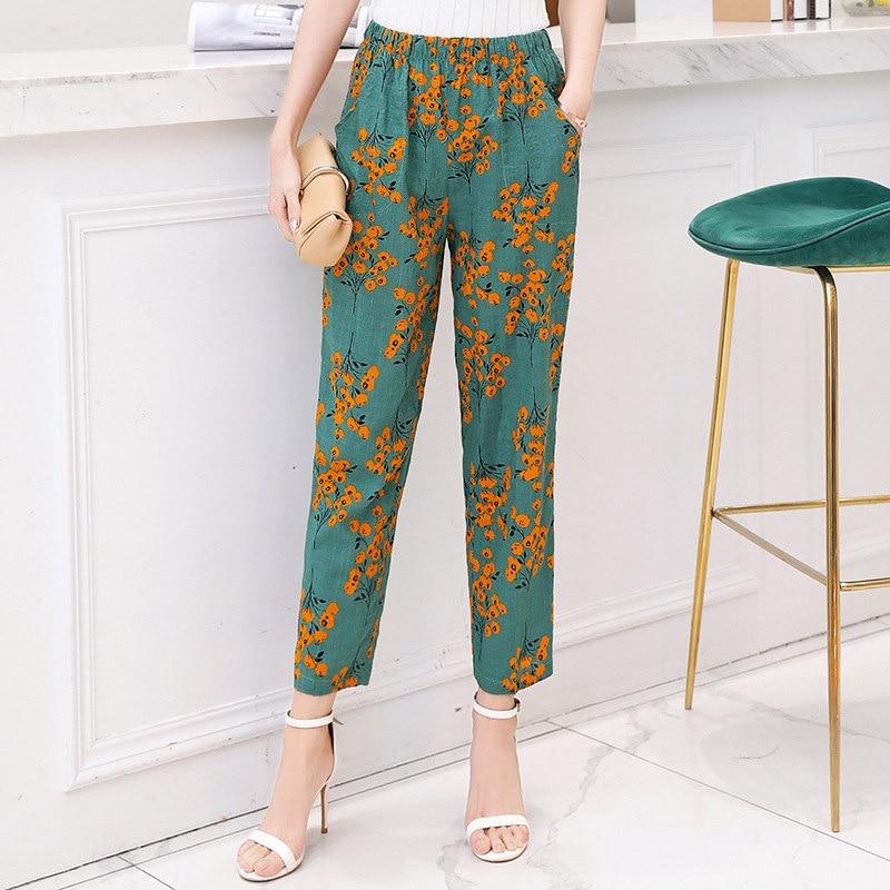 2019 Summer Women Pants Korean Cotton Linen Elastic Waist Plaid Pants Casual Straight High Waist Pants Trousers Plus Size XL-5XL