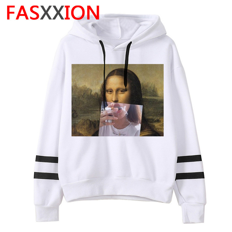 Mona Lisa Hoodie Oversized Women Korean Kawaii Harajuku Sweatshirt 90s Female Casual Winter Ullzang Hood Cartoon Funny