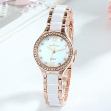 Zegarki damskie luksusowe zegarki kwarcowe damskie Fashion Casual damski zegarek z diamentami prezenty dla kobiet zegar z pudełkiem Reloj Mujer tanie tanio QUARTZ Zapięcie bransolety CN (pochodzenie) STOP 3Bar Moda casual ROUND Odporne na wodę Hardlex Papier 14mm K-8058 20cm