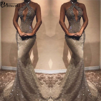 Sexy Beading Lace Prom Dresses 2019 Hater Neck Charming Crystal Sleeveless Mermaid Evening Dress Long Dress Party Robe De Soiree 5