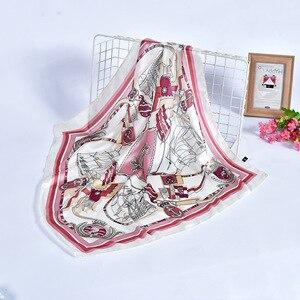 Image 3 - Bayanlar baskılı çanta çok fonksiyonlu fular sarar hicap mendil başkanı bandana taklit ipek müslüman kare eşarp