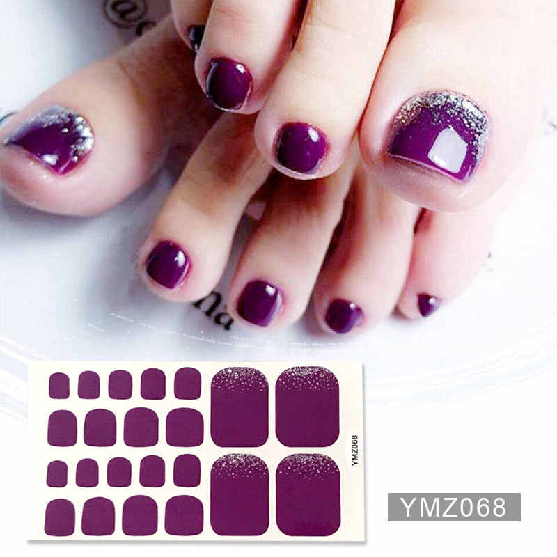 1 Pcs Volledige Cover Teennagel Sticker Geometrische Gemengde Patroon Nail Wraps Beauty Ontwerp Waterdichte Gemengde Size Teen Nail Art Decoratie