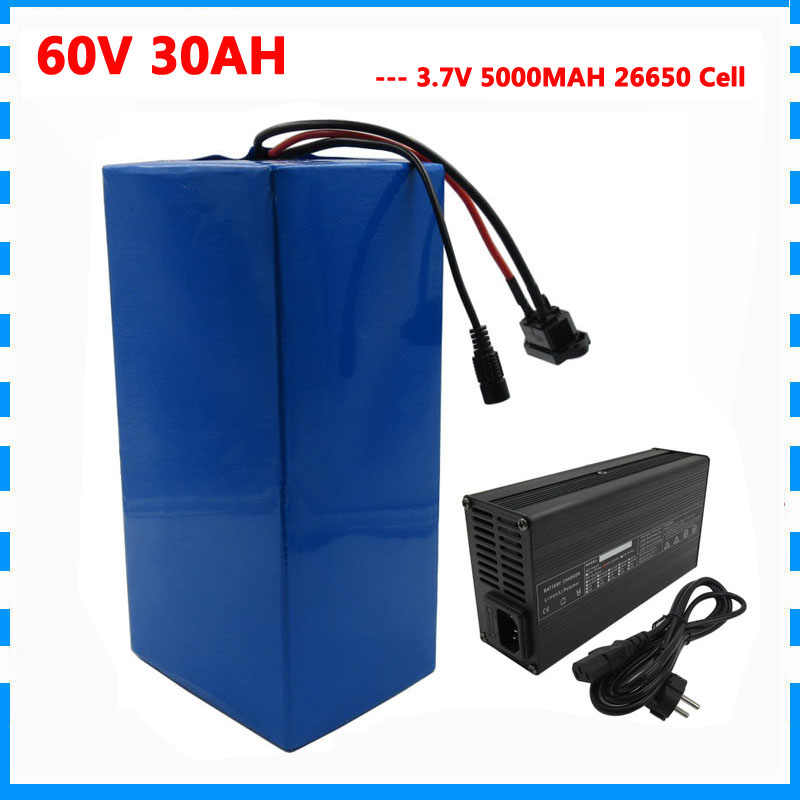 2500W 60V 30AH Lithium battery 60V 35AH ebike Scooter battery pack use 3.7V 5000MAH 26650 cell 50A BMS 67.2V 5A Charger
