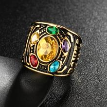Valily Marvel Avengers thanos Rings Gold Infinite Power Gauntlet Crystal Ring for Men Stainless Steel Infinity War Keyring