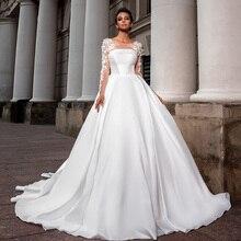 Best France Satin Wedding Gowns A-line Vestido De Casamento Long Sleeve Appliques Flowers Simple Bride Dresses Plus Size China